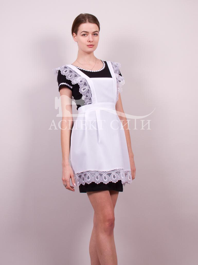 Платье черное с фартуком