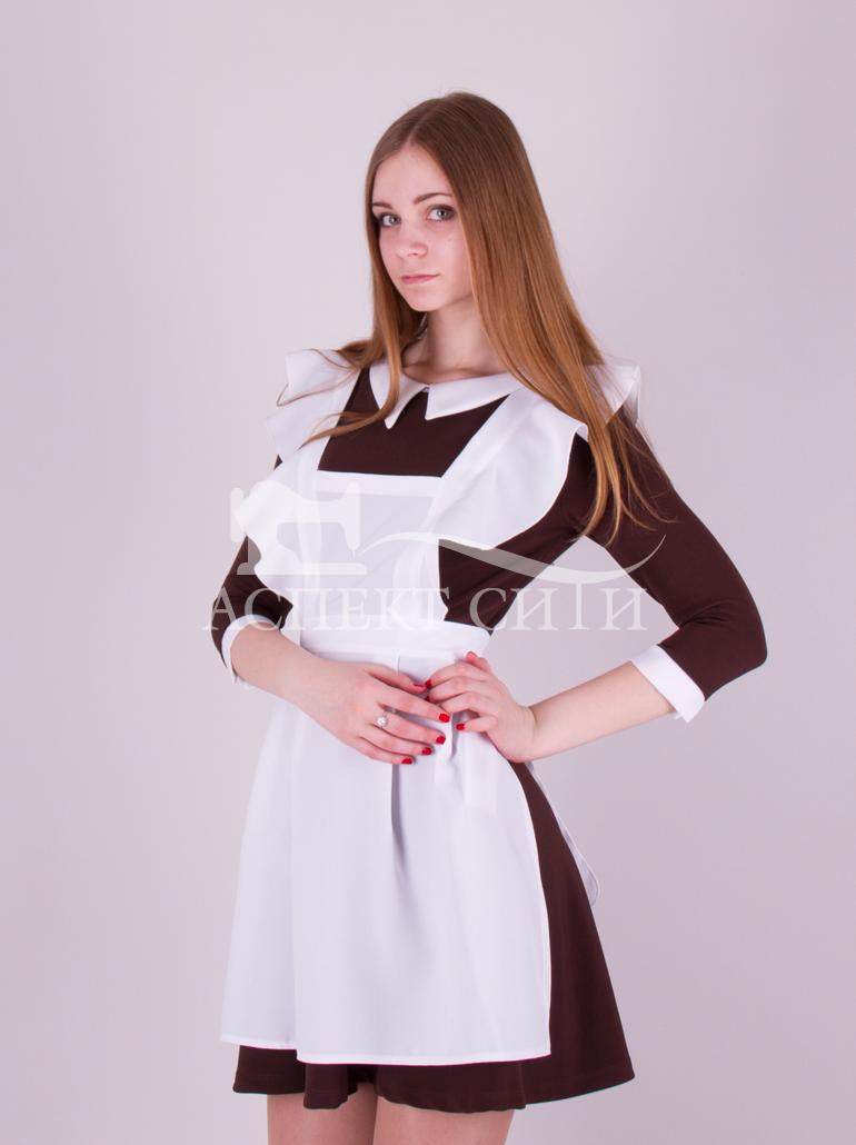 Девушки в школьной форме платье и фартук