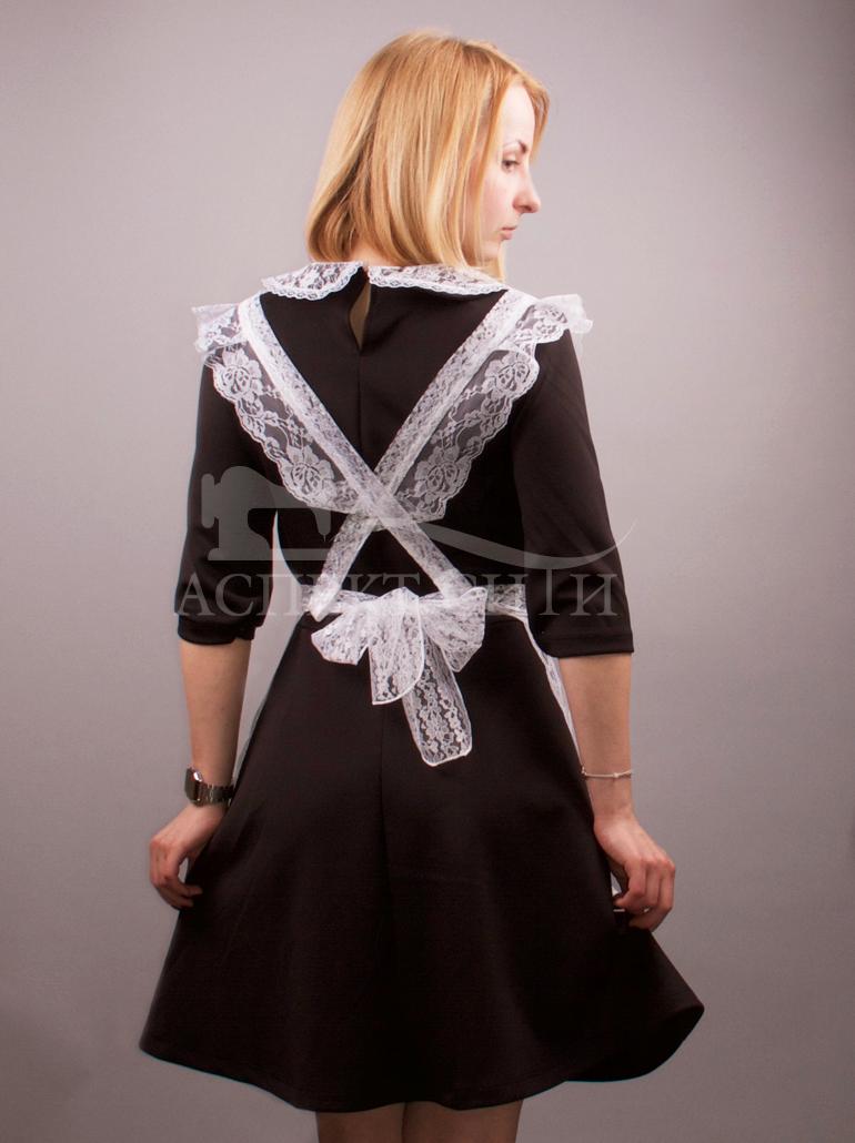 Платье черное белый воротник