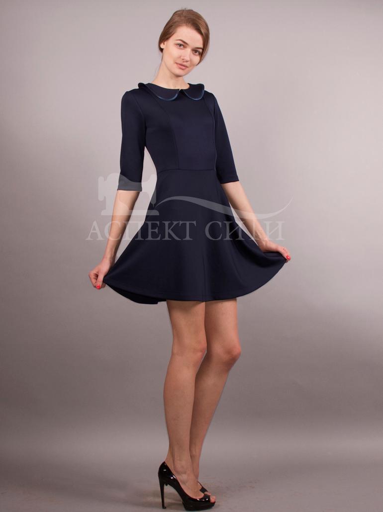 синее школьное платье с белым воротником