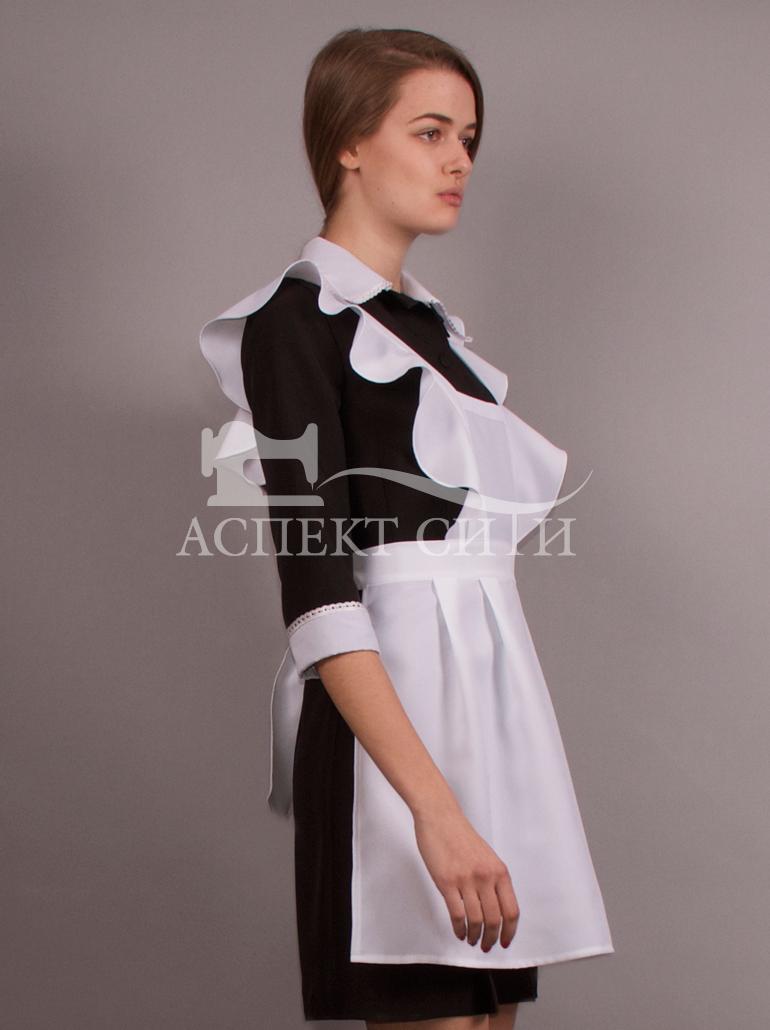 Темно-синие платье с фартуком